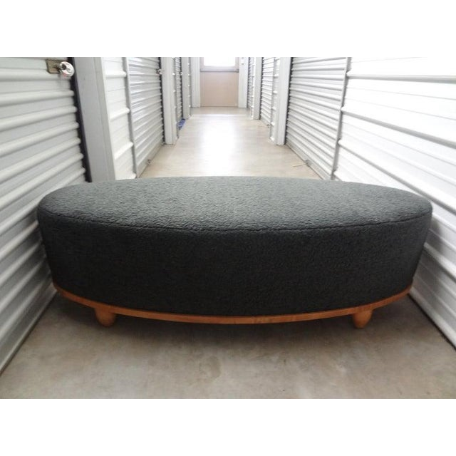 Art Deco Large Mid-Century Oval Bench Upholstered in Gray Shearling For Sale - Image 3 of 13