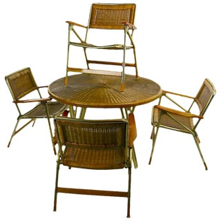 Chic Dining Patio Set by Telescope Chair Company For Sale