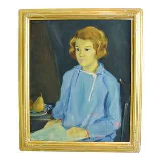 1930s Young Woman in Blue Portrait Oil Painting by Julie Turner For Sale