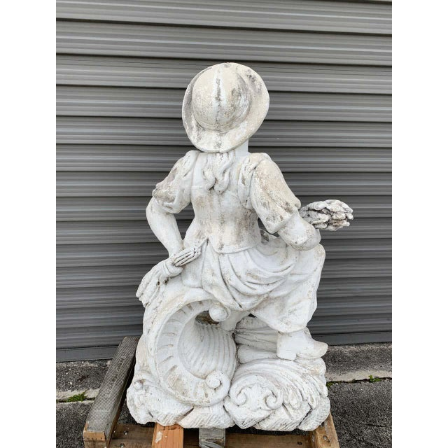 White Large Versailles Style Cast Stone Statue of 'Harvest' on a Pedestal Base For Sale - Image 8 of 12