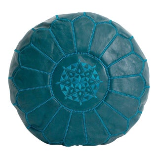 Modern Moroccan Teal Pouf For Sale