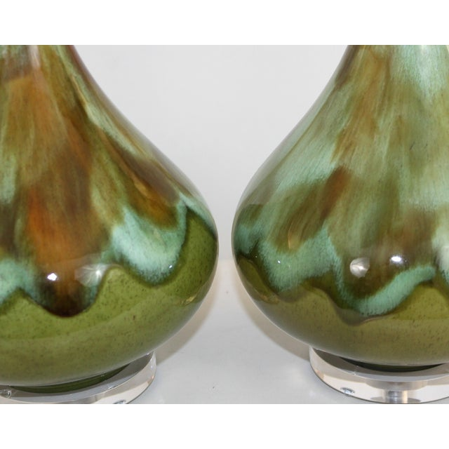 Mid-Century Restored Green Pottery Lamps - Pair - Image 4 of 9
