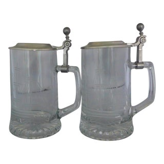Vintage West German Glass & Pewter Beer Mugs - Set of 2