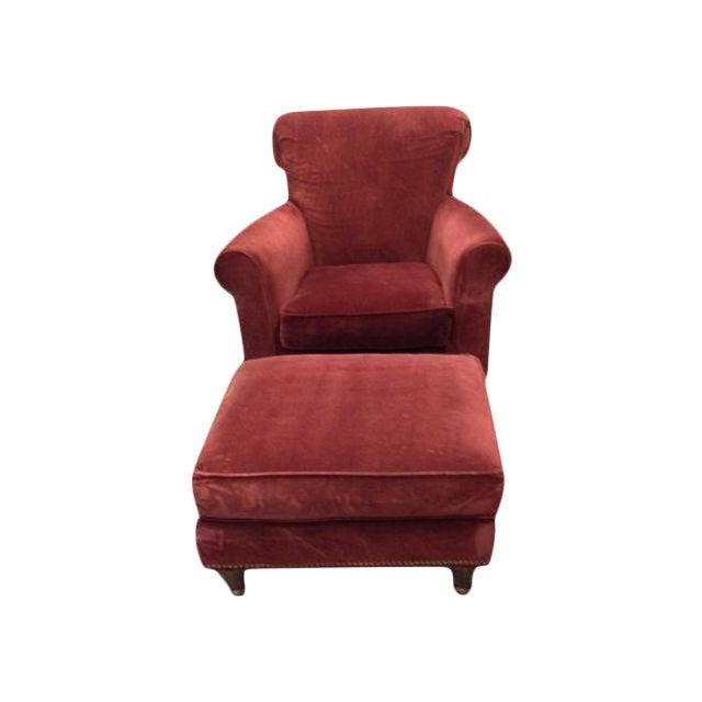 Abc Home Red Club Chair Ottoman A Pair Chairish