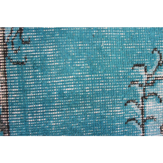 Turkish Over-Dyed Turquoise Rug - 5′5″ × 9′3″ - Image 9 of 11