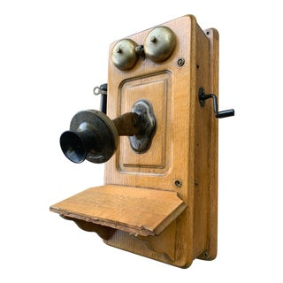 Antique 1900s Wooden Wall Phone For Sale