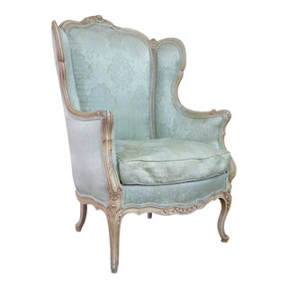 French Carved Cream Wingback Chair