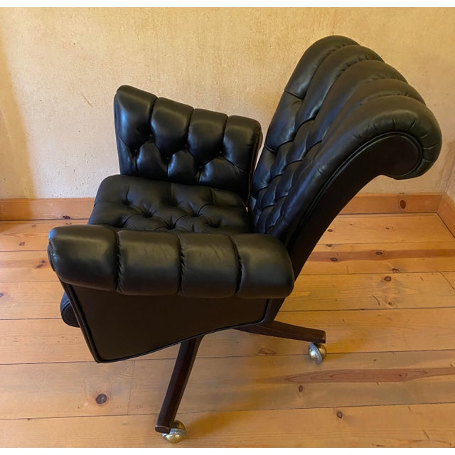Mid-Century Modern Edward Wormley Leather Desk Chair For Sale - Image 3 of 11