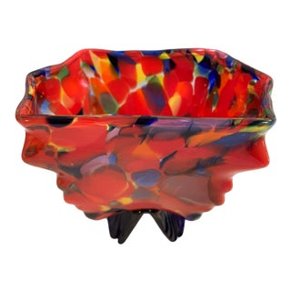 Vintage Kralik Czech Bohemian Art Glass Wing Footed Dish For Sale