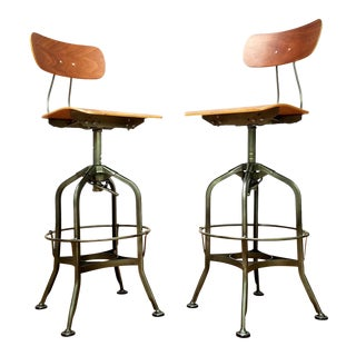 Industrial Metal and Wood Barstools - a Pair