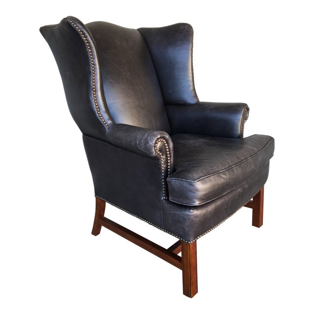 Pottery Barn Thatcher Leather Wing Back Arm Chair For Sale