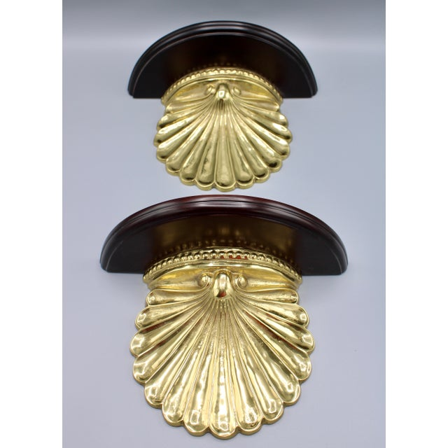 Coastal Wood and Brass Clam Shell Wall Shelves - a Pair For Sale - Image 4 of 13