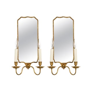 Large Scale Eglomise Mirrored Gilt Wood Sconces - a Pair For Sale