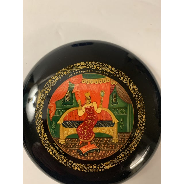 Vintage Mstera Princess Art Russian Ussr Wooden Lacquer Hand Painted Box, Signed For Sale - Image 9 of 12