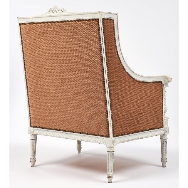 Orange Antique French Louis XVI Style Bergere For Sale - Image 8 of 9
