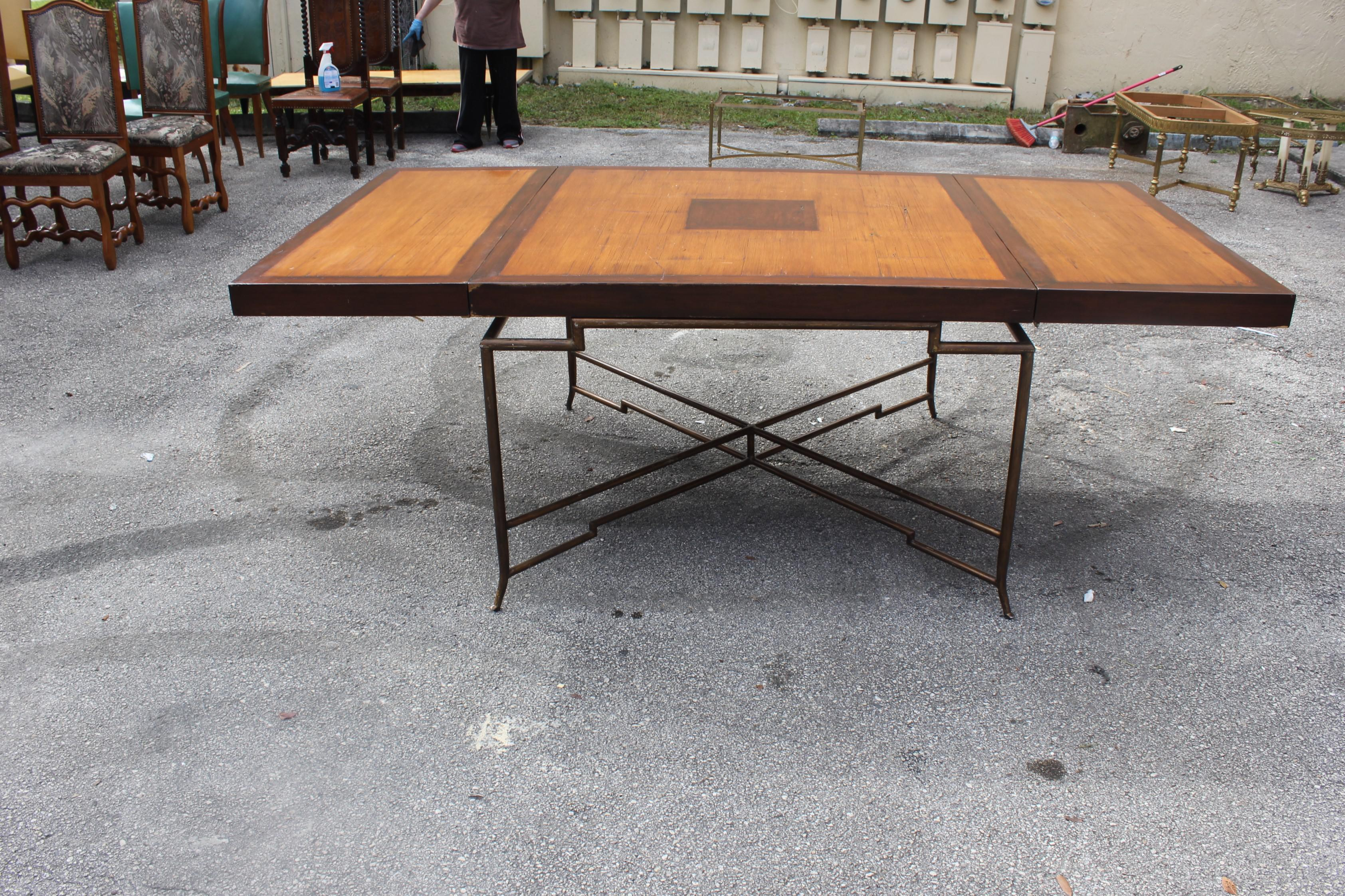 Long French Mid Century Solid Mahogany Dining Table With Brass Legs Circa  1950s   Image 5