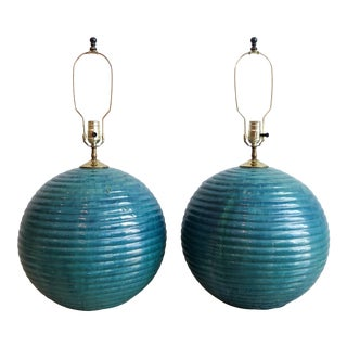 Pair of Vintage Oversized Teal Round Glazed Terra Cotta Lamps For Sale