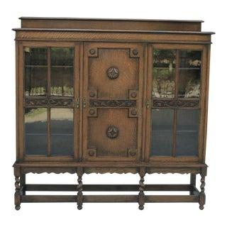 Antique English Oak Jacobean Barley Twist Bookcase Display Cabinet For Sale