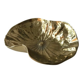 Virginia Metalcrafters Brass Lotus Leaf Dish For Sale