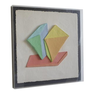 Emboss Geometric 3d Collage Painting by Ricki McNeill For Sale