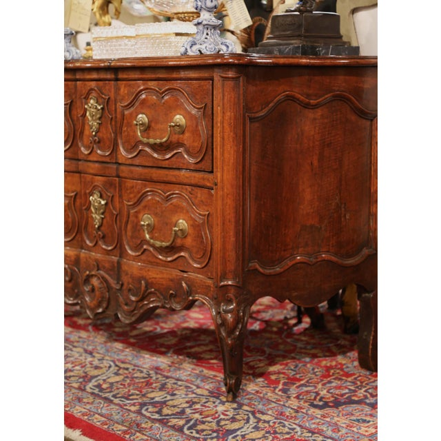 18th Century Louis XV Period Carved Walnut Two-Drawer Commode From Fourques For Sale - Image 9 of 11