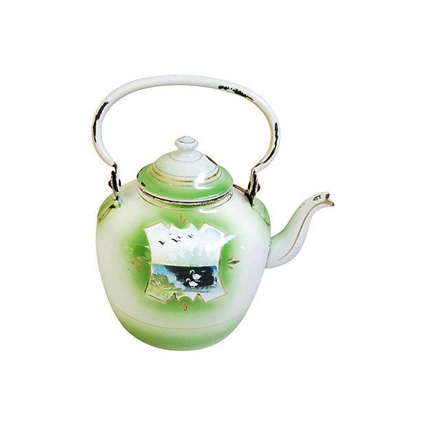 Early 1900s Hand-Painted French Country Tea Kettle Pot For Sale - Image 4 of 9