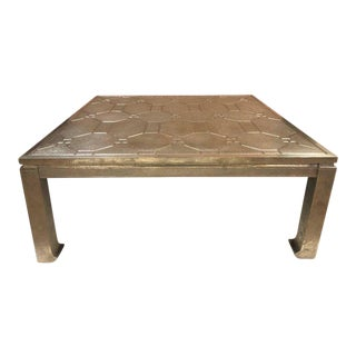 Modern Silver Clad Coffee Table For Sale