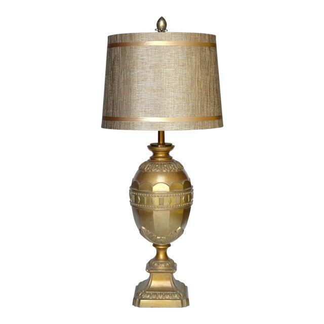 Hollywood Regency Gold Metal Egg Lamp For Sale