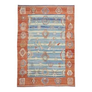 Blue and Orange Turkish Kilim Rug with Tribal Style