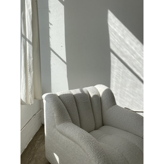 Textile Postmodern Bouclé Clam Chair & Ottoman For Sale - Image 7 of 10
