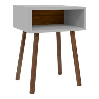 Minimo Modern Kids Nightstand in Walnut & Birch With Gray Finish For Sale