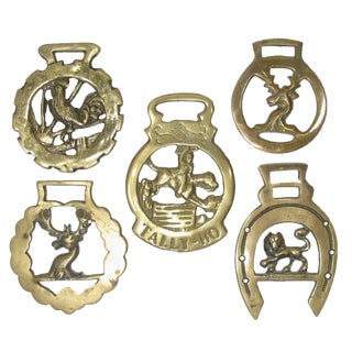 English Horse Brass Collection, S/5 For Sale