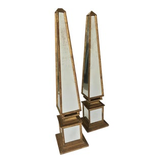Oversized Italian Giltwood and Antiqued Mirrored Obelisks - a Pair For Sale