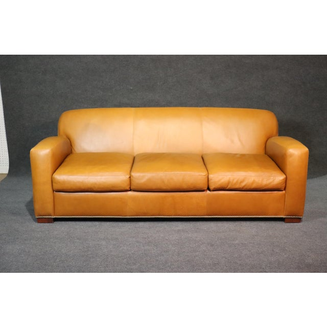 Ralph Lauren Art Deco Style Leather Sofa For Sale - Image 11 of 11