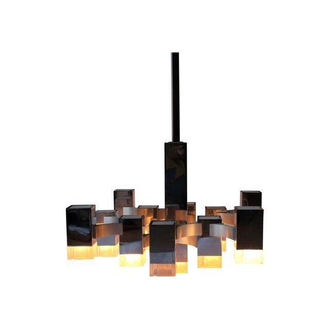 Italian Sciolari Cubic Lightolier Chandelier - Image 1 of 4