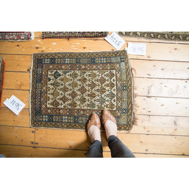 :: Super cute collectible diminutive size Caucasian rug mat featuring lattice oriented diamond motif. Colors and shades...