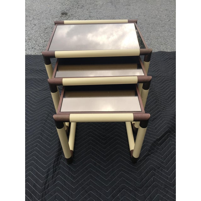 1950s Mid-Century Modern Geometric Cube Form Nesting Tables - Set of 3 For Sale - Image 4 of 5