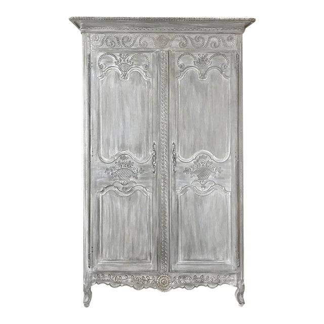 19th Century Country French Provincial Whitewashed Armoire For Sale
