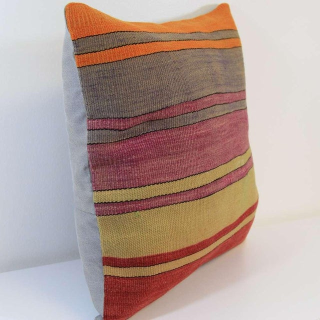 Vintage Turkish Striped Kilim Pillow Cover - Image 6 of 7