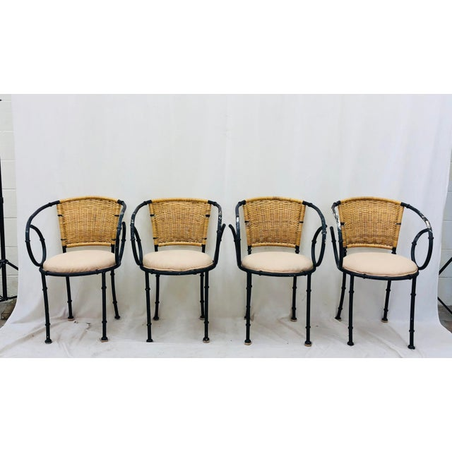 Vintage Metal & Wicker Bistro Chairs For Sale - Image 9 of 13