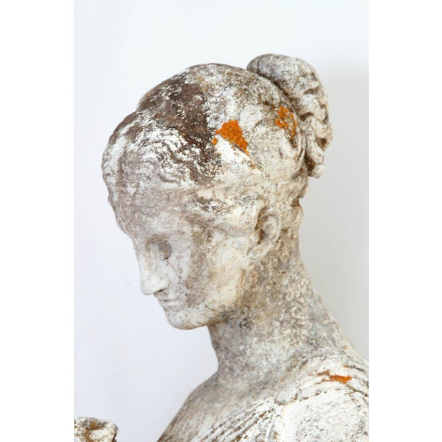 Gray 19th Century French Hand Carved Stone Female Statue For Sale - Image 8 of 13