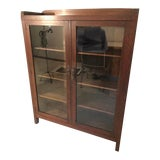 Image of Antique Art and Crafts Stickley Style Glass Front Book Shelf Cabinet Bookcase For Sale