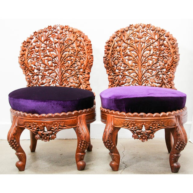 Fabulous Anglo-Raj contemporary pair of side chairs suite with foliate open carved wood back and carved legs. Intricately...