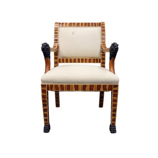 Upholstered Hand Painted Faux Wood Arm Chair For Sale