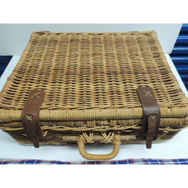 Vintage Picnic Wicker Basket with Blanket and Serving Set - Image 2 of 5