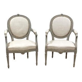 Painted Armchairs, Sweden Circa 1900 - a Pair For Sale