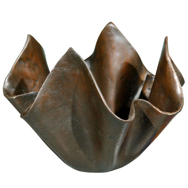 Gold Small Bronze Handkerchief Planter For Sale - Image 8 of 8