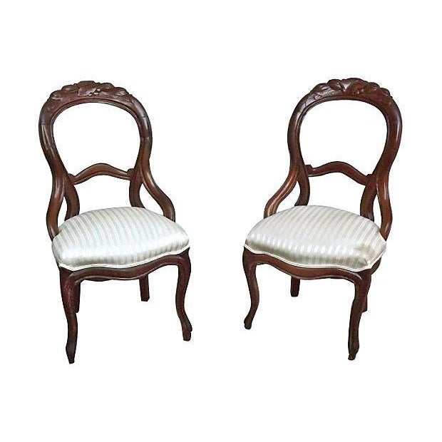 English Hand-Carved Leaf & Silk Chairs - Pair - Image 1 of 4