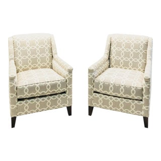 Modern Century Furniture Tan and Cream Printed Accent Chairs - a Pair