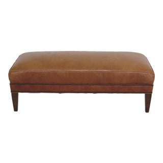 Stickley Modern Style Tan Leather Bench For Sale